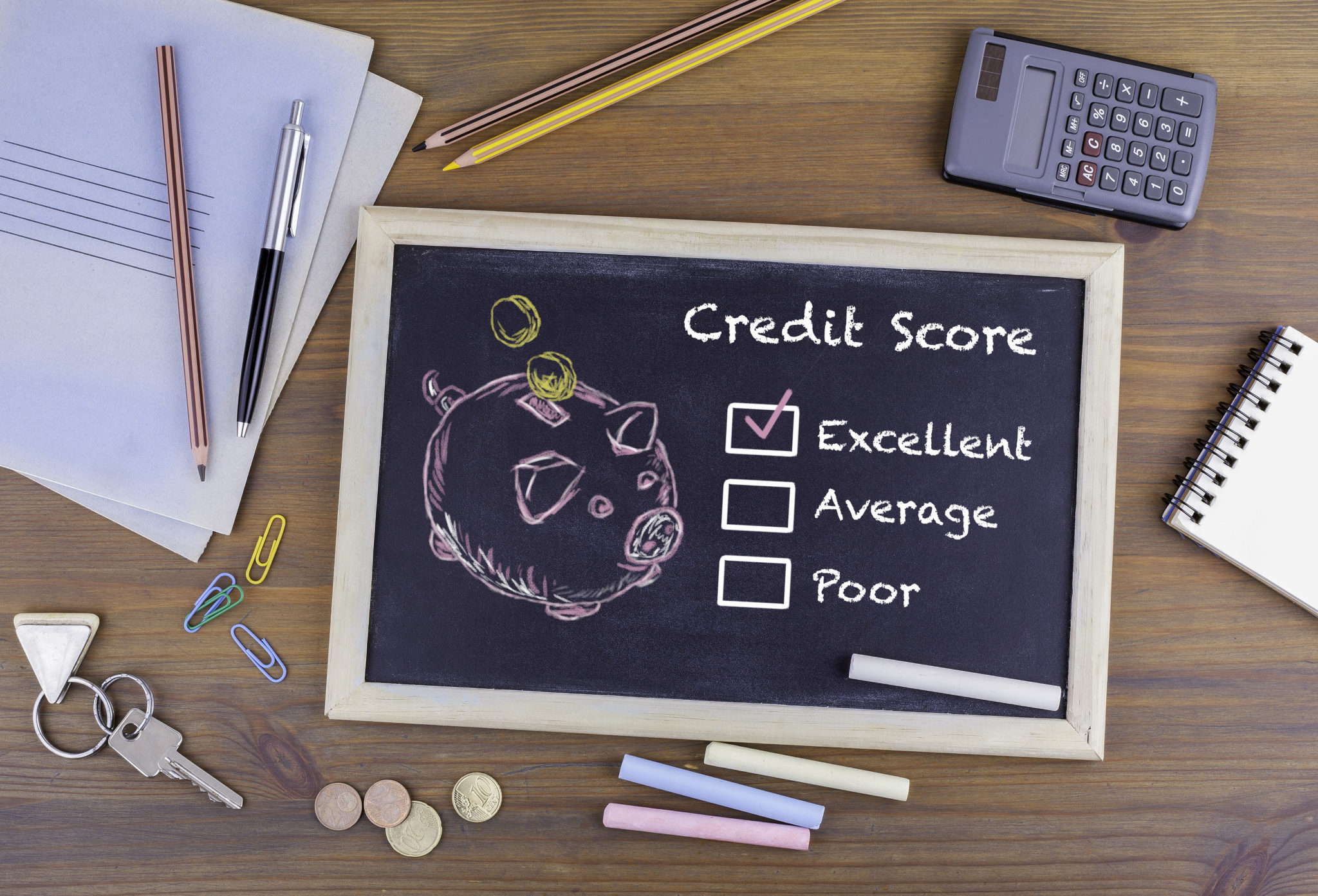 Excellent Credit Score concept. Chalkboard on wooden office desk