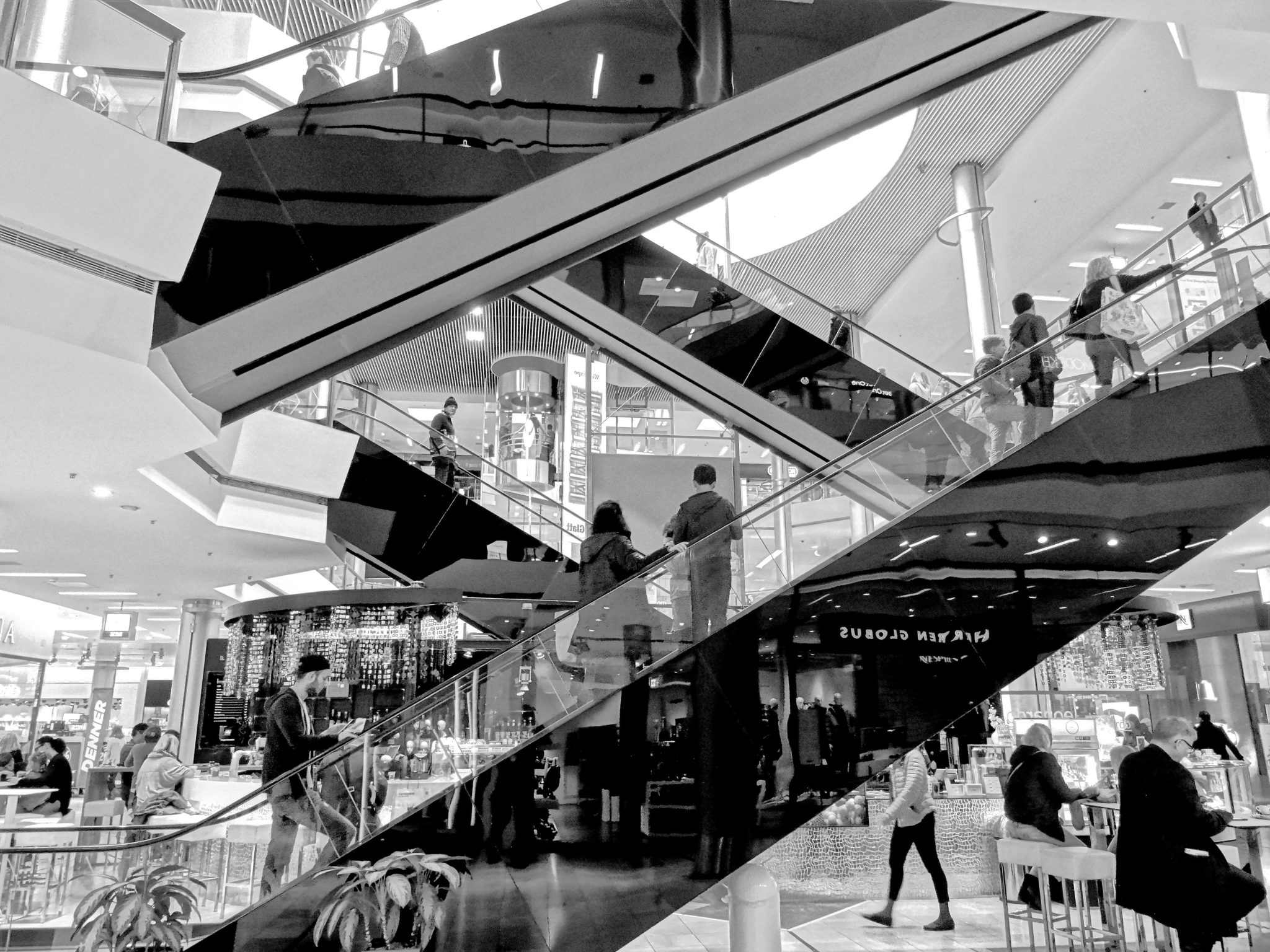 Black and white inside of mall