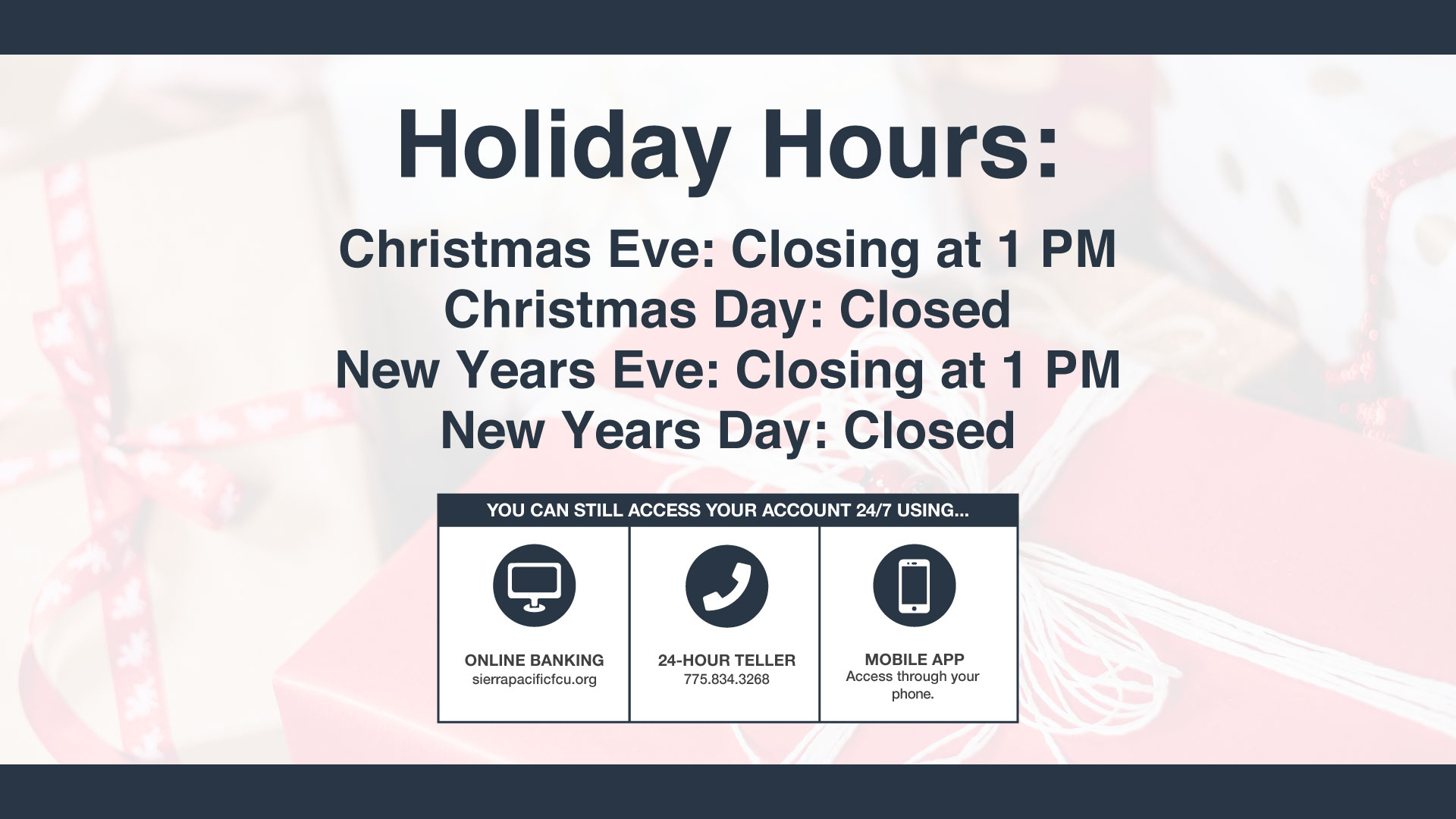 Holiday Hours 2018 Christmas Eve, closing at 1 PM Christmas Day, Closed New Year's Eve, closing at 1 pm New Years Day, Closed
