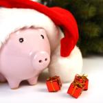 Piggy bank with santa hat