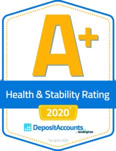 DepositAccounts.com A plus health rating for 2020 badge