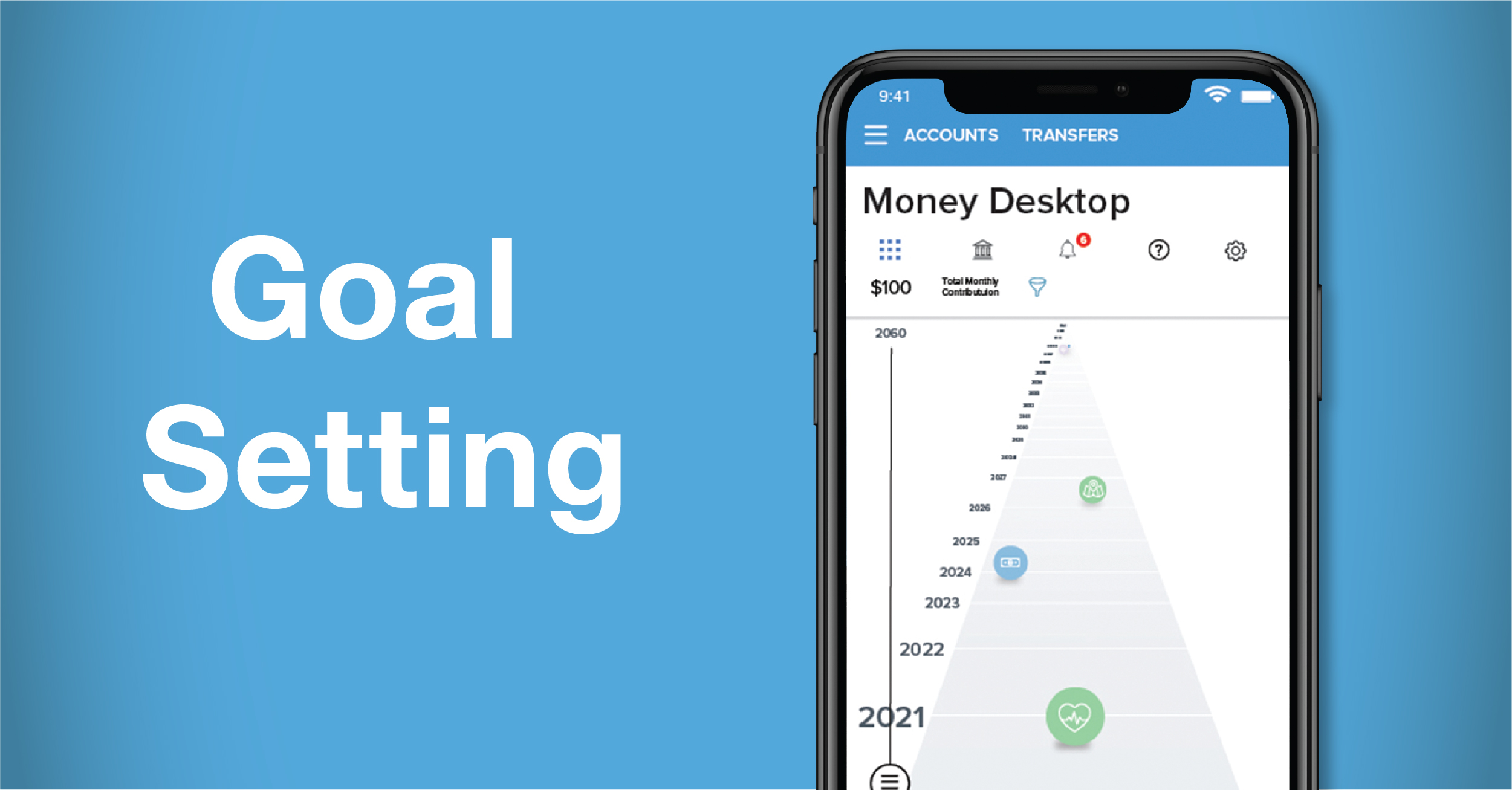phone screen showing money desktop platform and words goal setting to the left