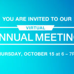 blue gradient background with white text you are invited to our virtual annual meeting Thursday, October 15 at 6 - 7 PM