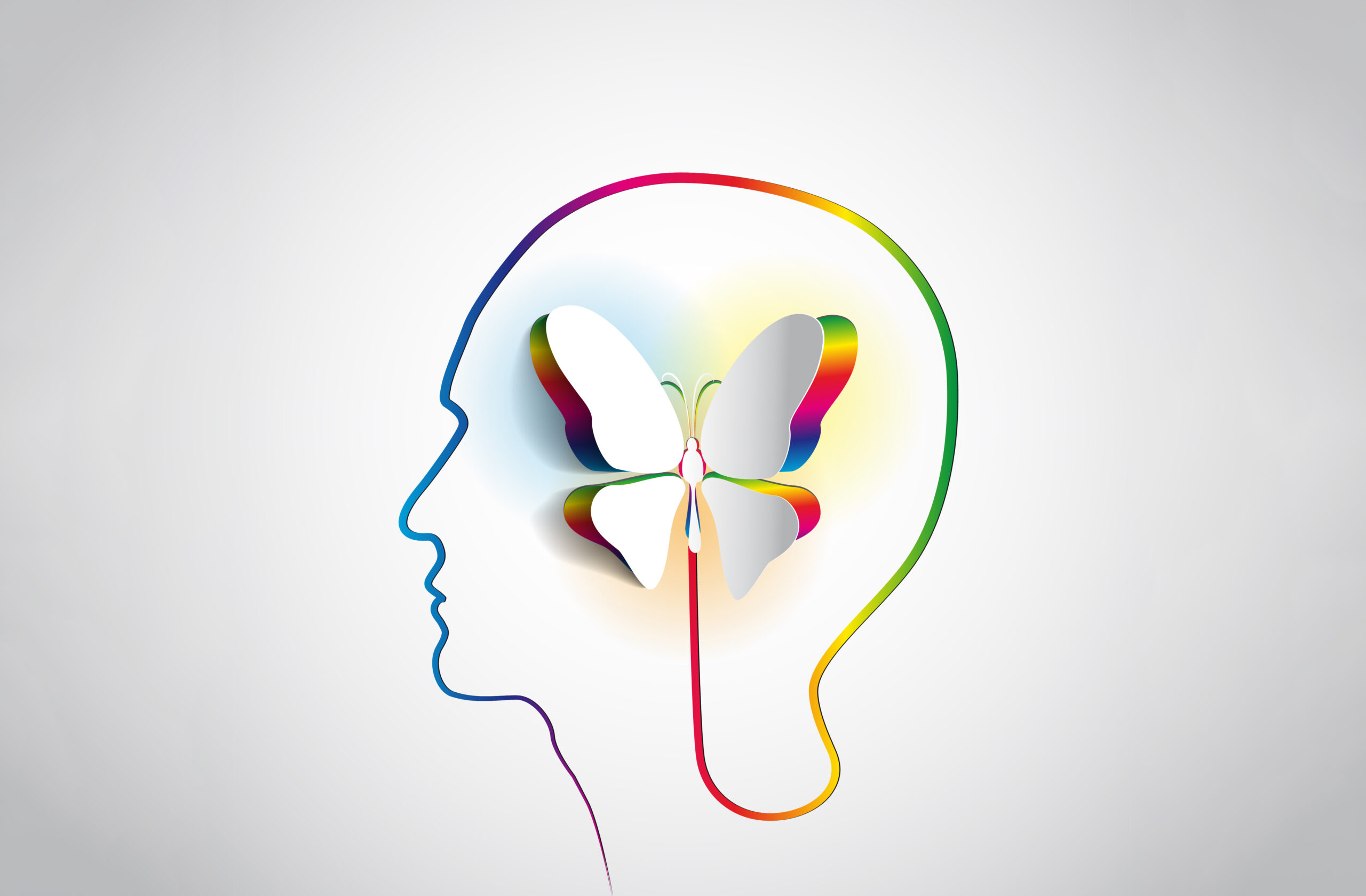 shape of a head and neck outline in rainbow colors with a 3 dimensional butterfly in the middle also outlined in rainbow colors