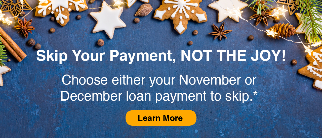 blue background with iced snowflake shaped cookies, greenery, skip. your payment not the joy choose either your November or December payment to skip.
