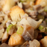 close up picture of a bowl of stuffing