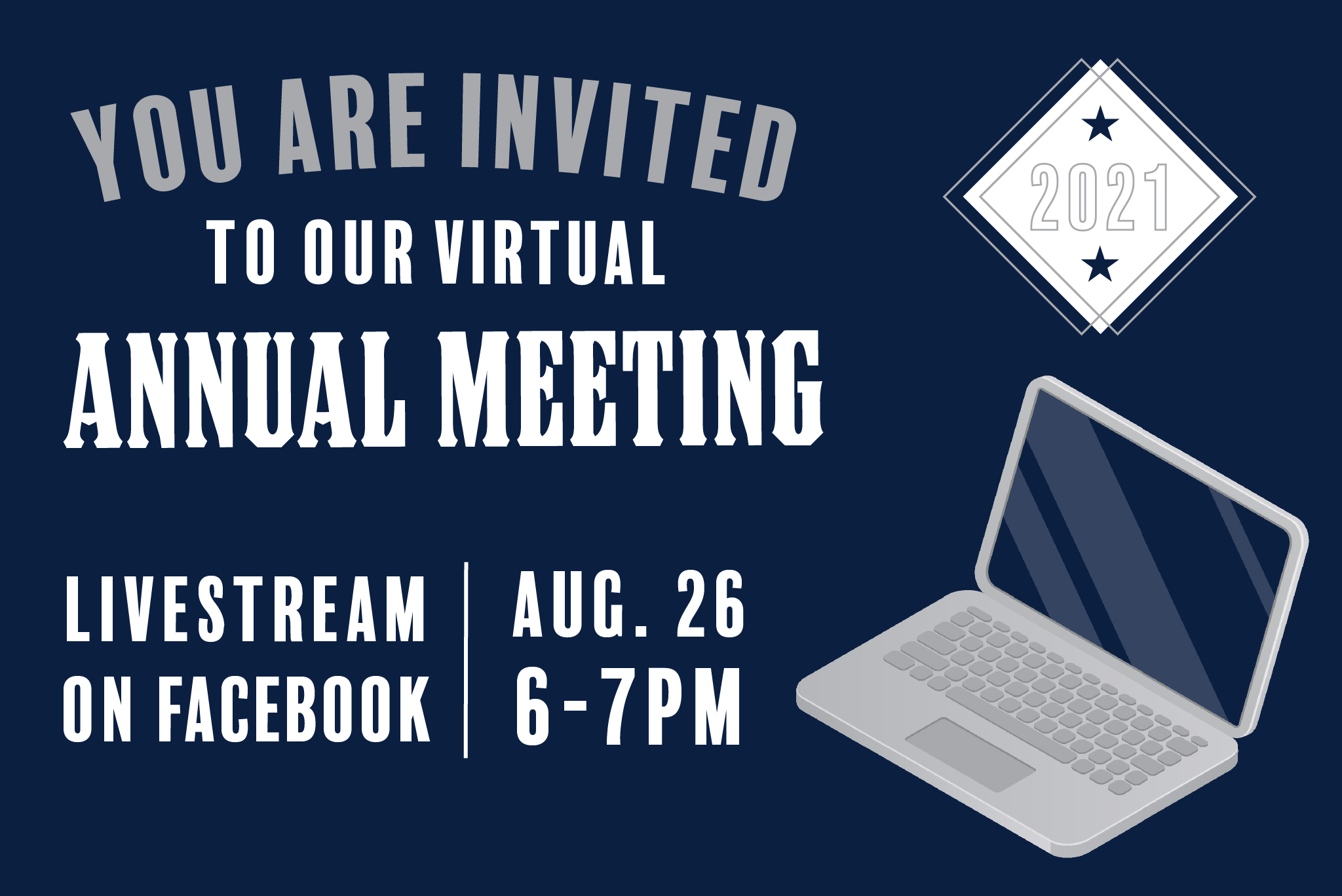 updated annual meeting graphic with a computer and information